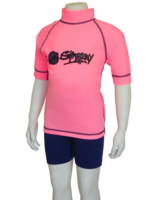Pink/Navy Flatlock Stitch