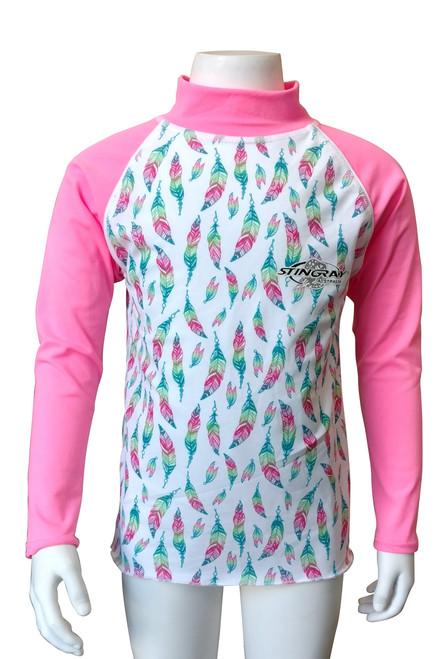 Kids Rash Shirt Long Sleeve  FEATHER PRINT