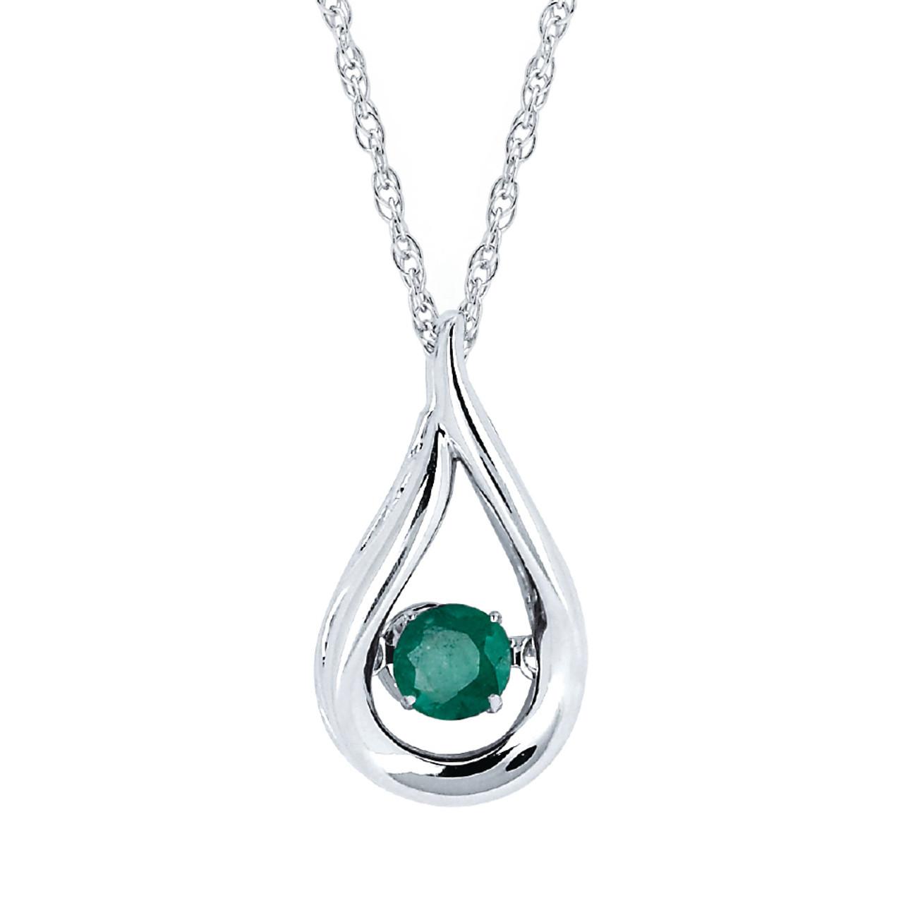 Sterling silver emerald floating gemstone pendant necklace 18 sterling silver emerald floating gemstone pendant necklace 18 aloadofball Images