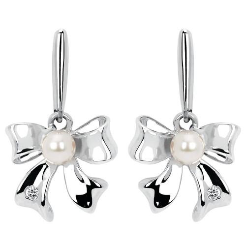 Diamond Accent & Pearl Bow Drop Earrings