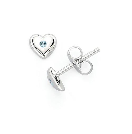 Aquamarine Heart Earrings