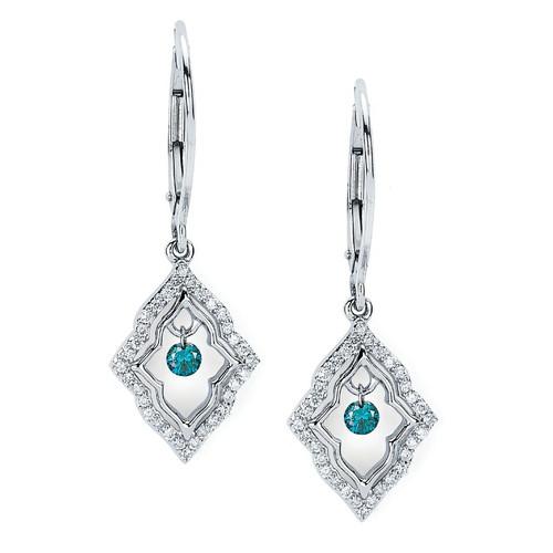 14K White Gold 1/3 c.t. TW Blue and White Diamond Drop Earrings