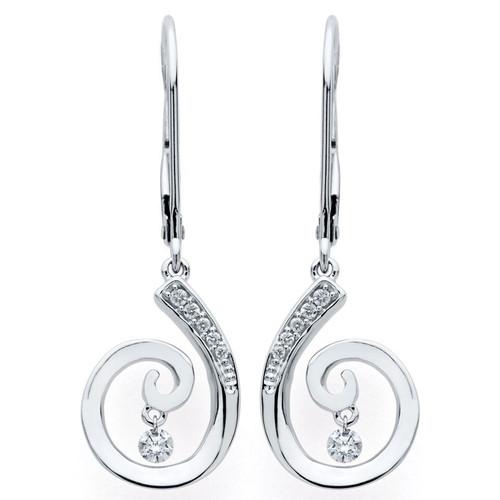 Swirl Earrings in 14K Gold with 1/8 Ctw. Diamonds