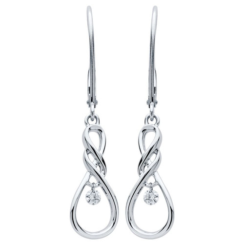 Sterling Silver 1/12 c.t. TW Diamond Infinity Dangle Earrings