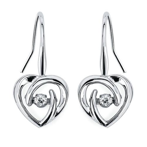 Dangling Heart Earrings in Sterling Silver with 1/10 Ctw Diamonds