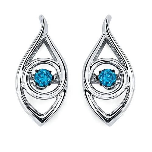 Iris Earrings in Sterling Silver with 1/8 Ctw. Diamonds