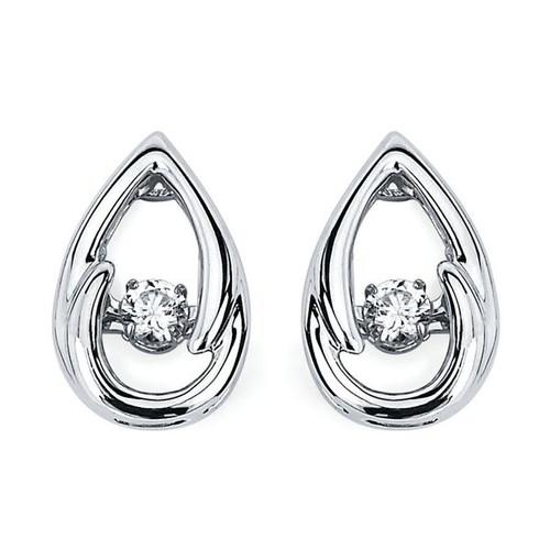 Tear Drop Earrings in Sterling Silver with 1/8 Ctw. Diamonds