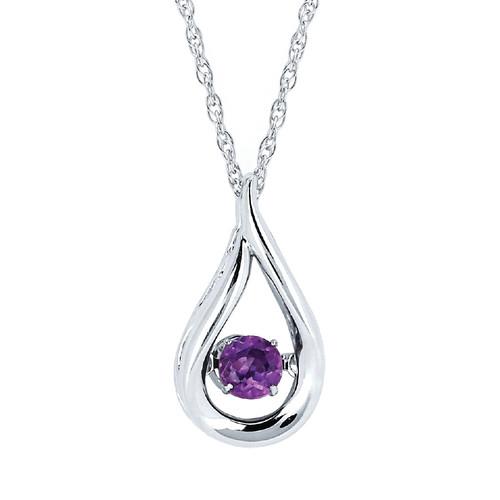 "Sterling Silver Amethyst Floating Gemstone Pendant Necklace, 18"""