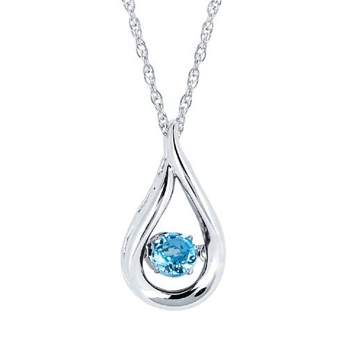 "Sterling Silver Blue Topaz Floating Gemstone Pendant Necklace, 18"""