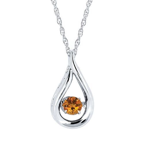 "Sterling Silver Citrine Floating Gemstone Pendant Necklace, 18"""