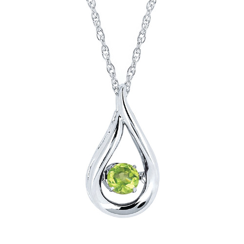 """Sterling Silver Peridot Floating Gemstone Pendant Necklace, 18"""""""