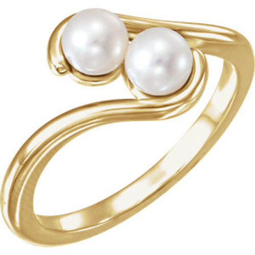 14K Yellow Freshwater Cultured Pearl Two-Stone Ring