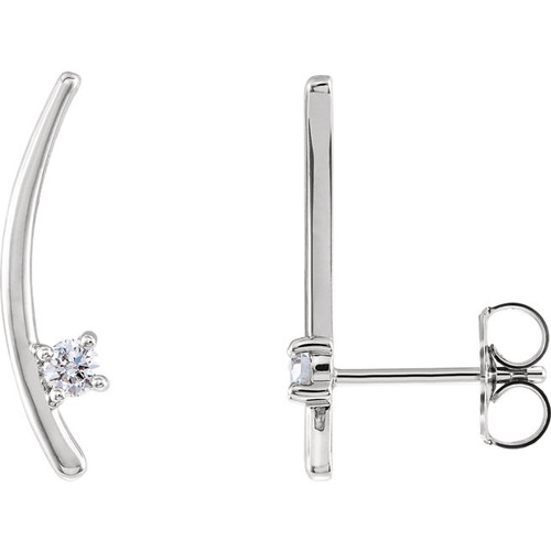 14K White 1/8 CTW Diamond Ear Climbers