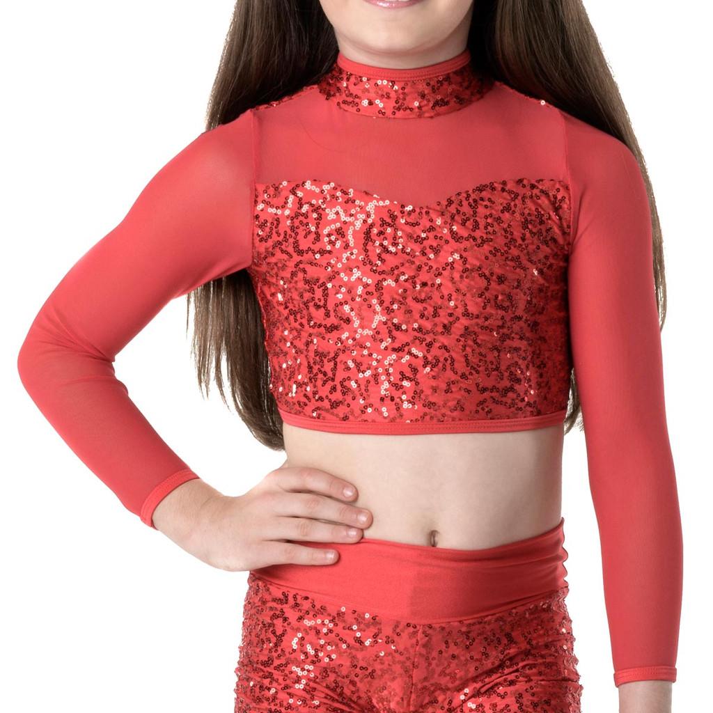 Studio 7 Dancewear Down Town Long Sleeve Crop Top - Girls