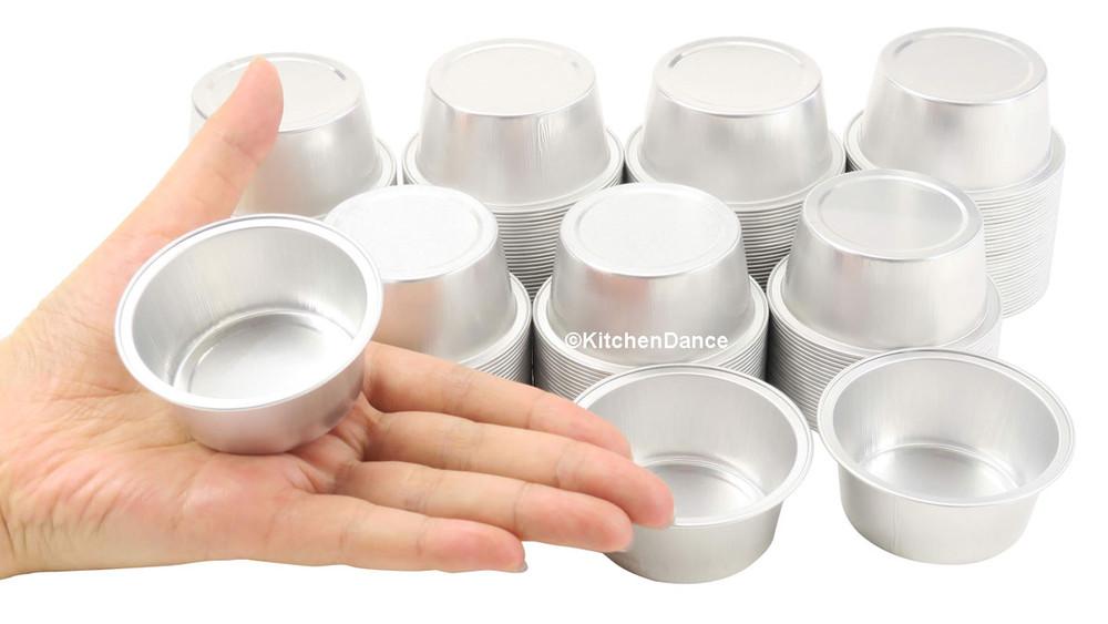 """disposable aluminum foil 1½"""" OZ. mini dessert cups, baking cups"""