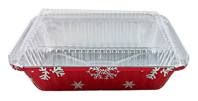 2¼ lb. Disposable Holiday Oblong Foil Pan with Dome Lid   #9201X