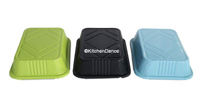 Colored take out pans available in black, blue and green