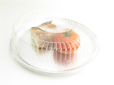 """12"""" Disposable Foil Catering/Serving Tray w/ Plastic Lid - Pack of 25 - #12P"""