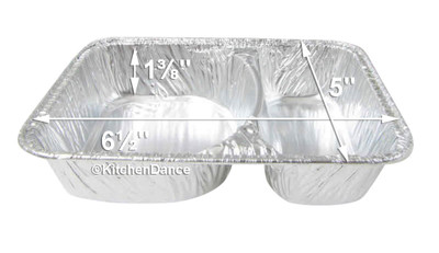 disposable aluminum foil 2-section hamburger tray, food serving tray