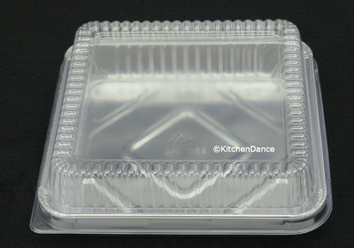"disposable Aluminum Foil 8"" square Cake Pan with Plastic Lid"