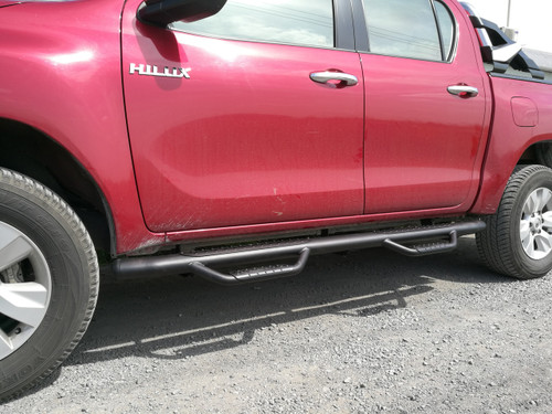 Black HD Running Boards / Side Bars For Toyota Hilux 2015-2019
