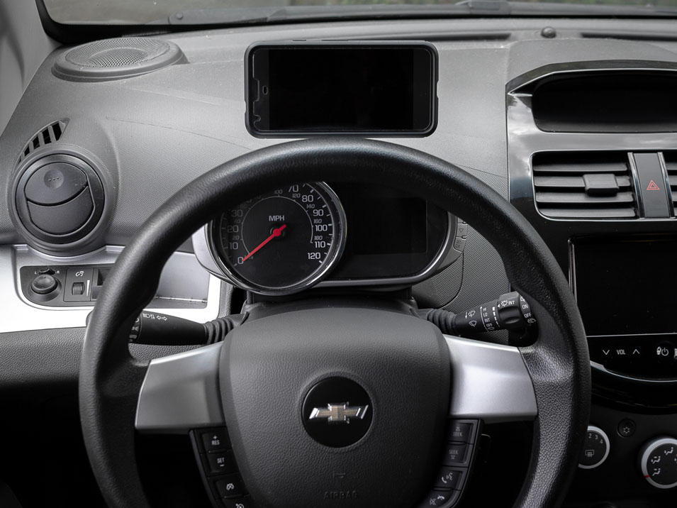 Driver's view of the CravenSpeed Gemini Phone Mount for 2009-2015 Chevrolet Spark