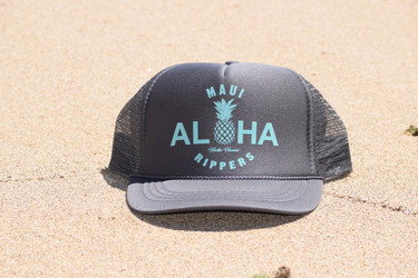 Aloha Pineapple Trucker Hat Charcoal Turquoise