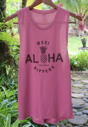 Aloha Pineapple - Womens Muscle Tank Top Smoked Paprika