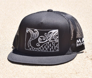 Mermaid Tail Canvas Trucker - Hat Black/Silver