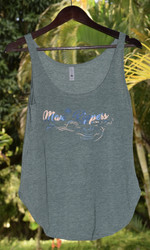 Maui Rippers Wave Womens Festival Tank - Royal Pine with Baby Pink Print