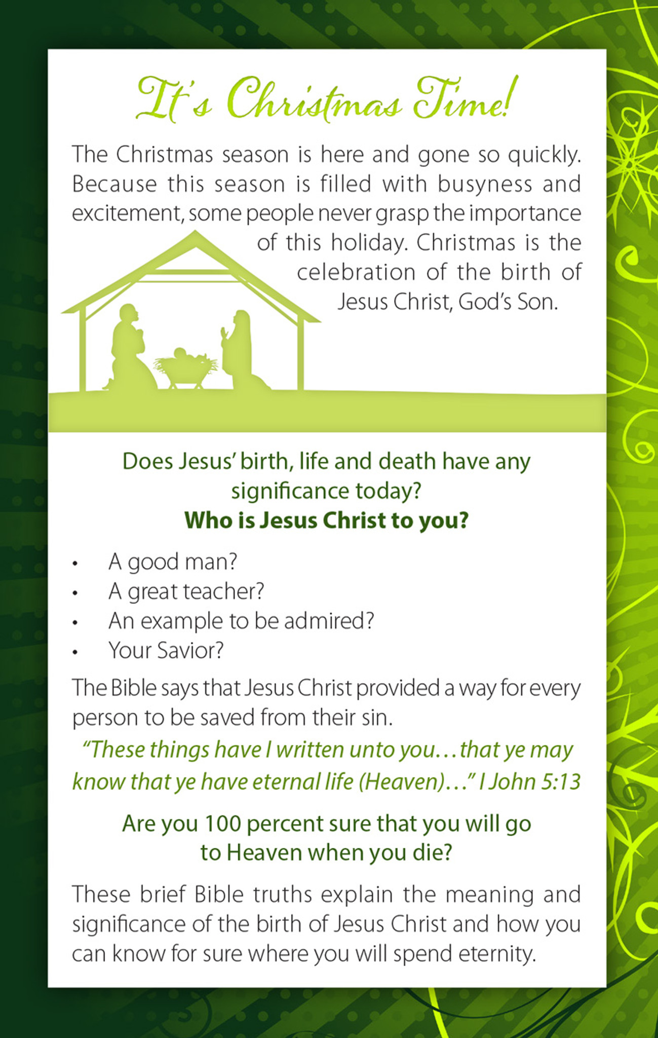 Good News About Jesus Gospel Tracts | Christmas Tracts