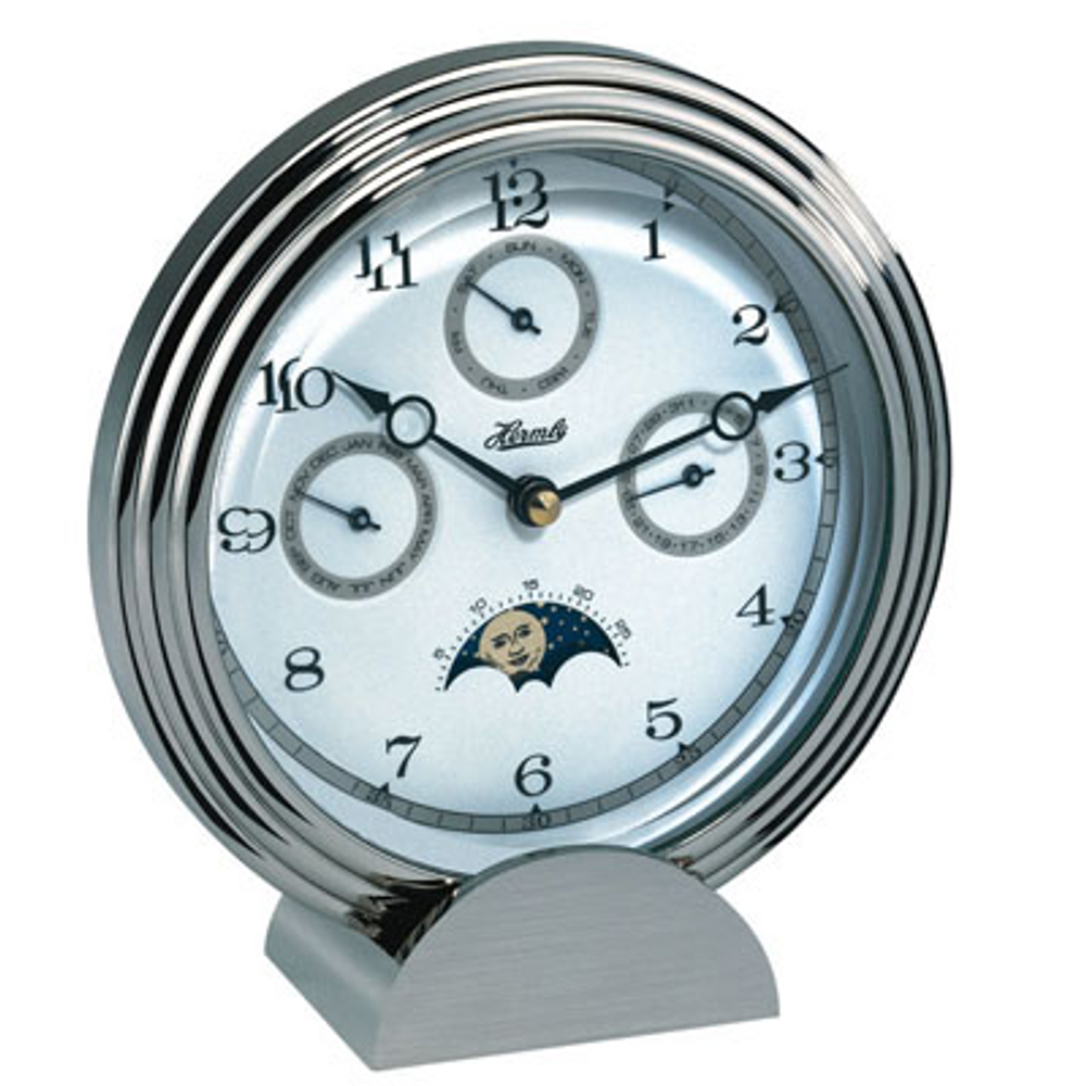 Hermle Solid Brass/Nickel Plated Multi Function Table Clock