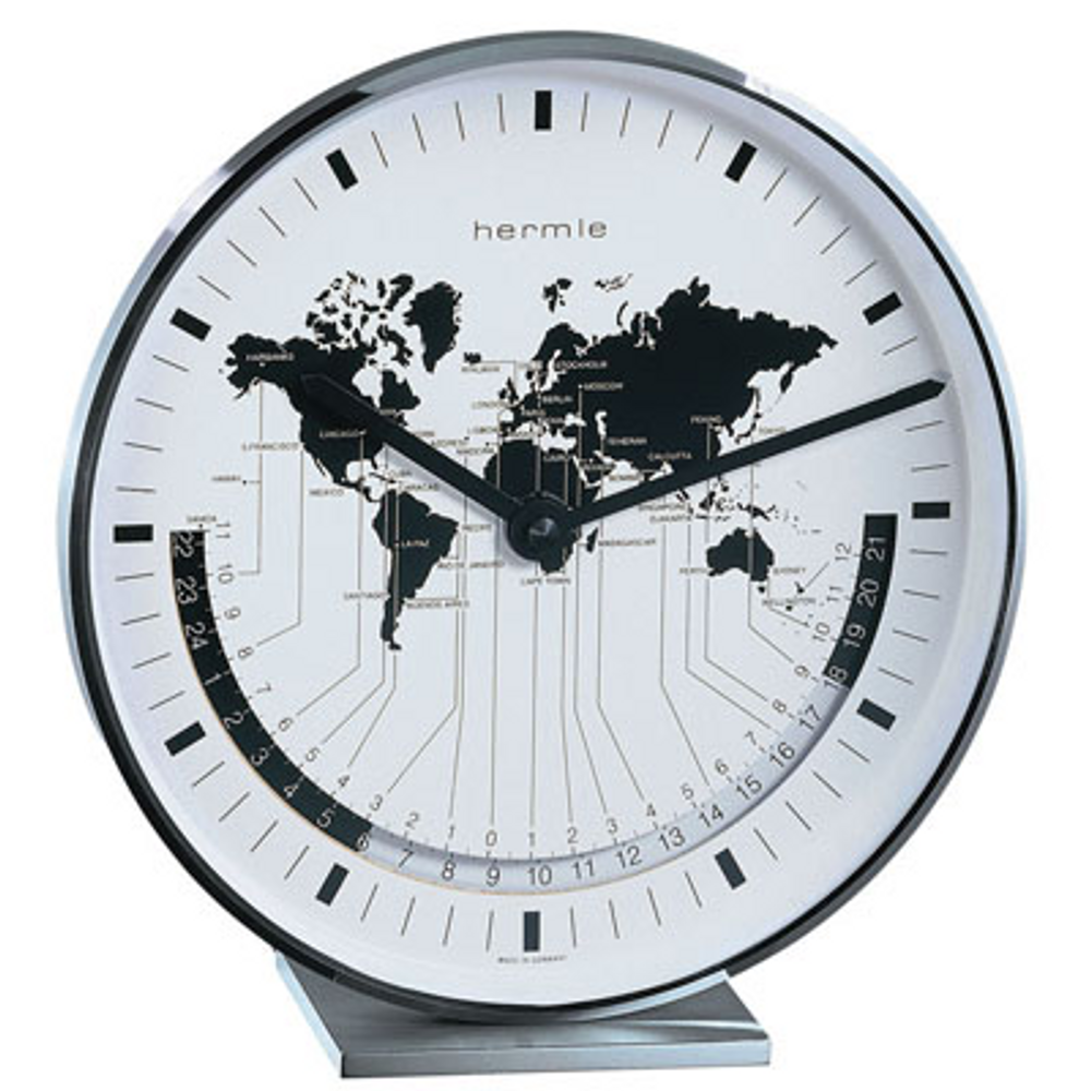 Hermle Solid Brass/Nickel Plated World Time Table Clock