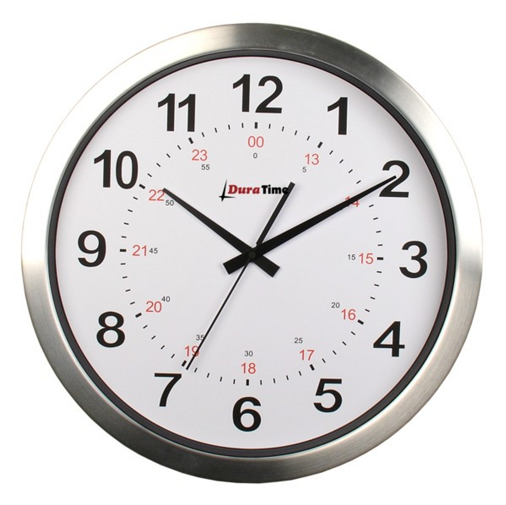"""DuraTime 12"""" Analog Clock. Brushed Aluminium.Also available in 15"""" diameter. Contact us for advice and prices."""