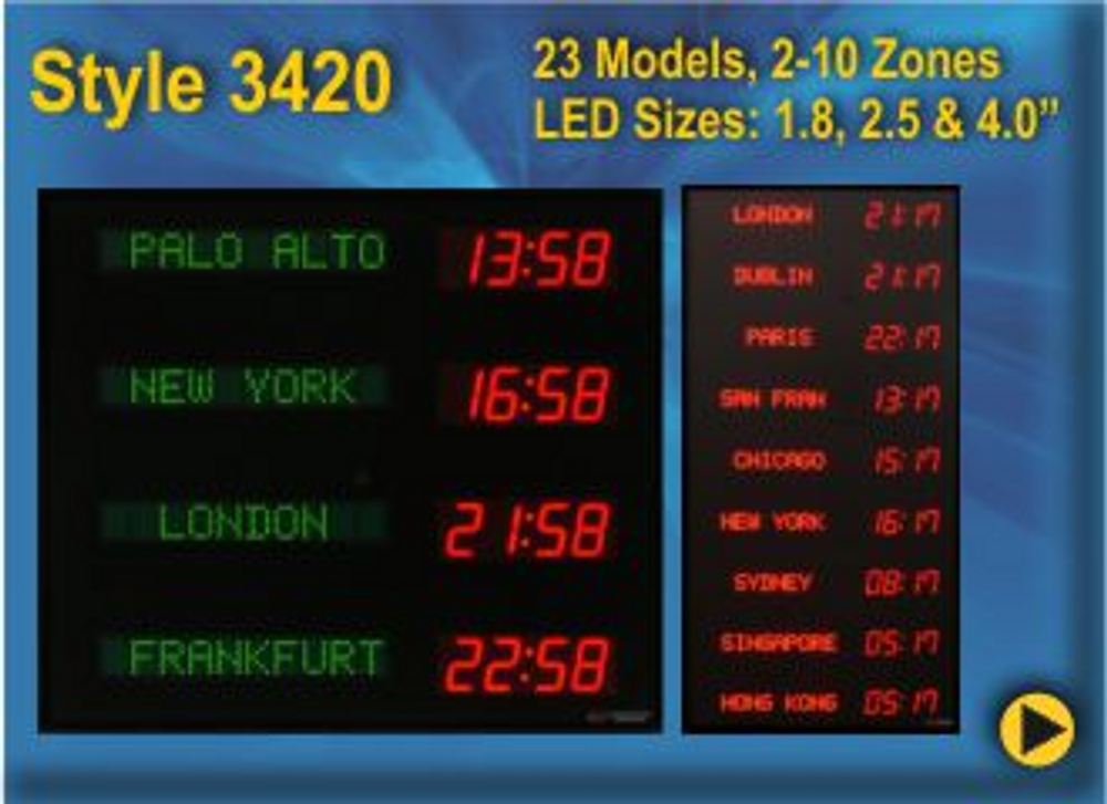 Programmable Time Zones Clocks. Available in many colour options. Please call or email us for a quote.