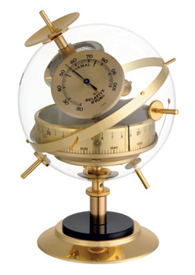 """Sputnik"" Weatherstation in Brass.Barometer,Thermometer,Hygrometer."