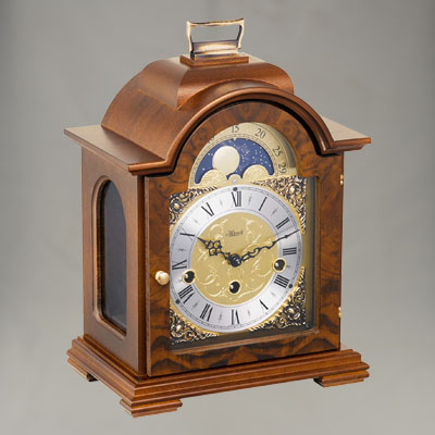 Debden Mantel Clock - Westminster Chime with Walnut Finish - Hermle