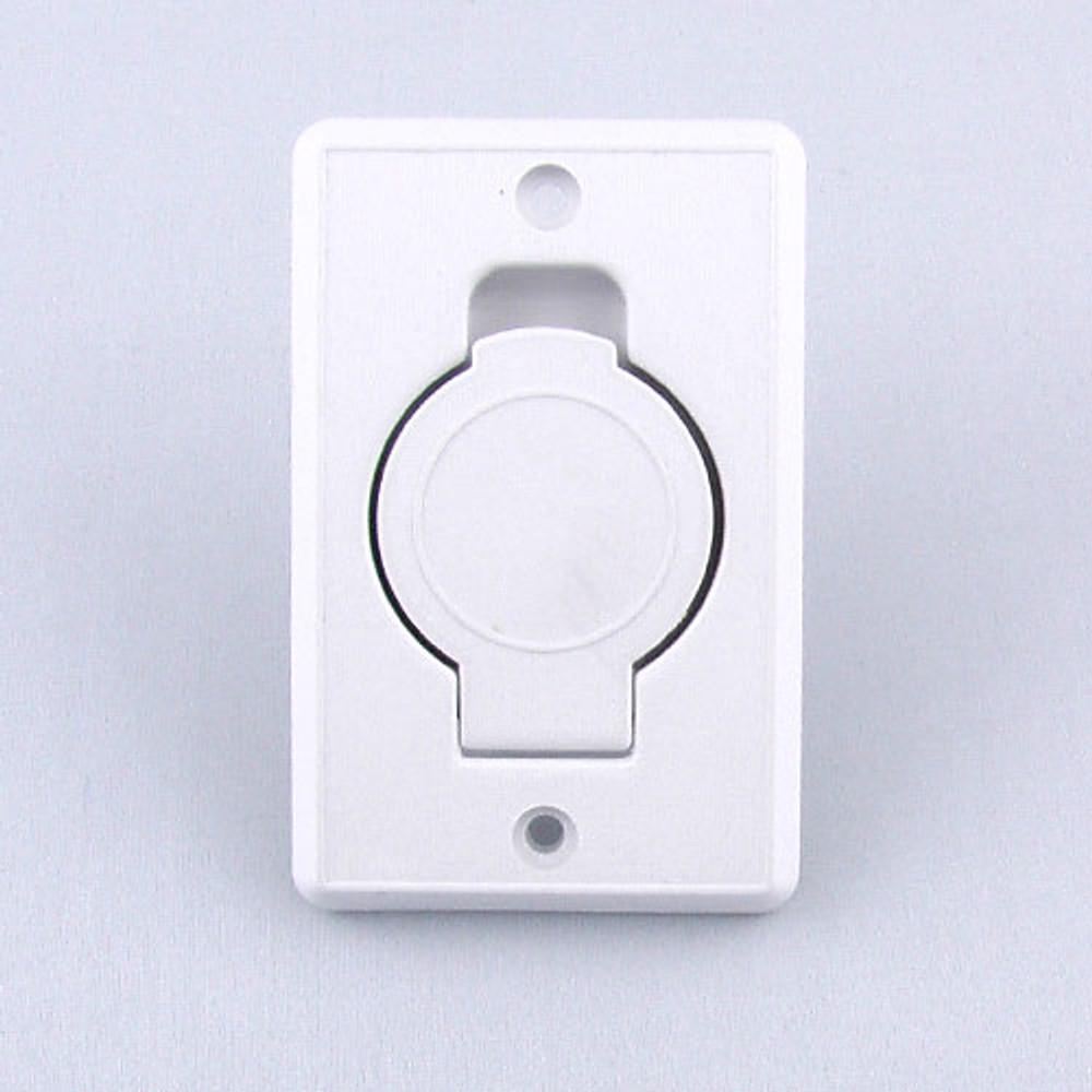Plain white central vacuum inlet valve.