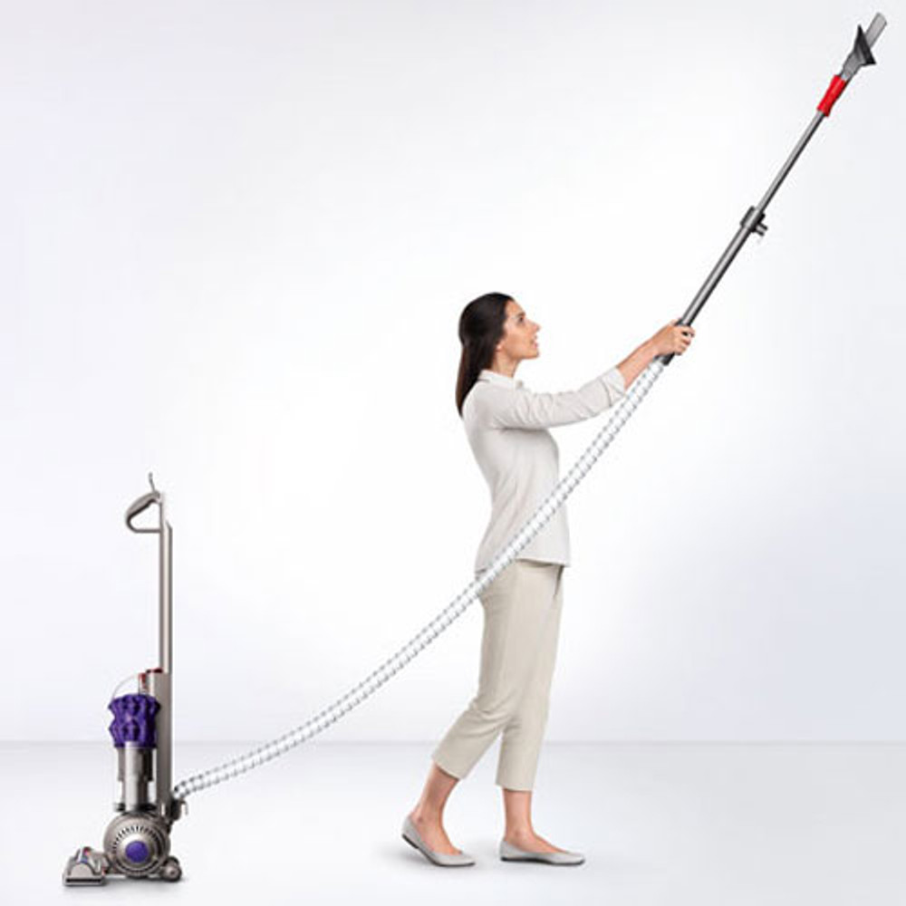 Hose and extension wand easily come out for added reach.