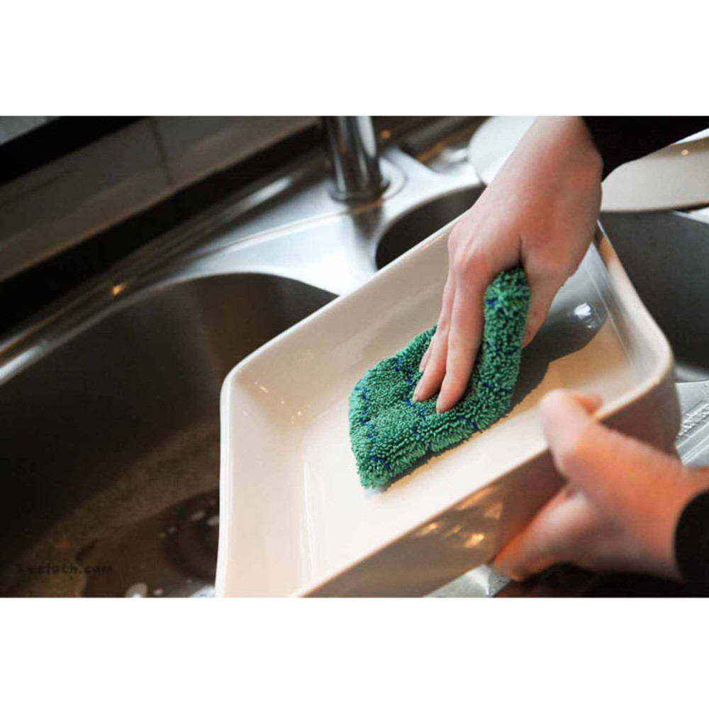Microfibre pad works for washing dishes.