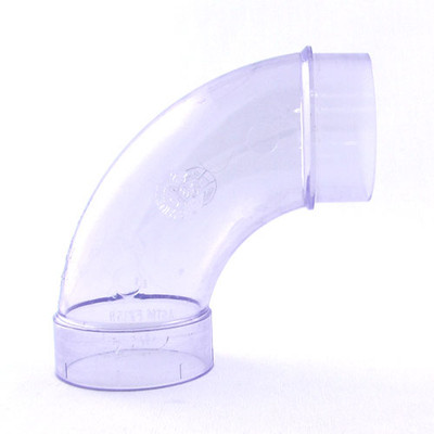 90 Degree Elbow with Extension - Clear PVC