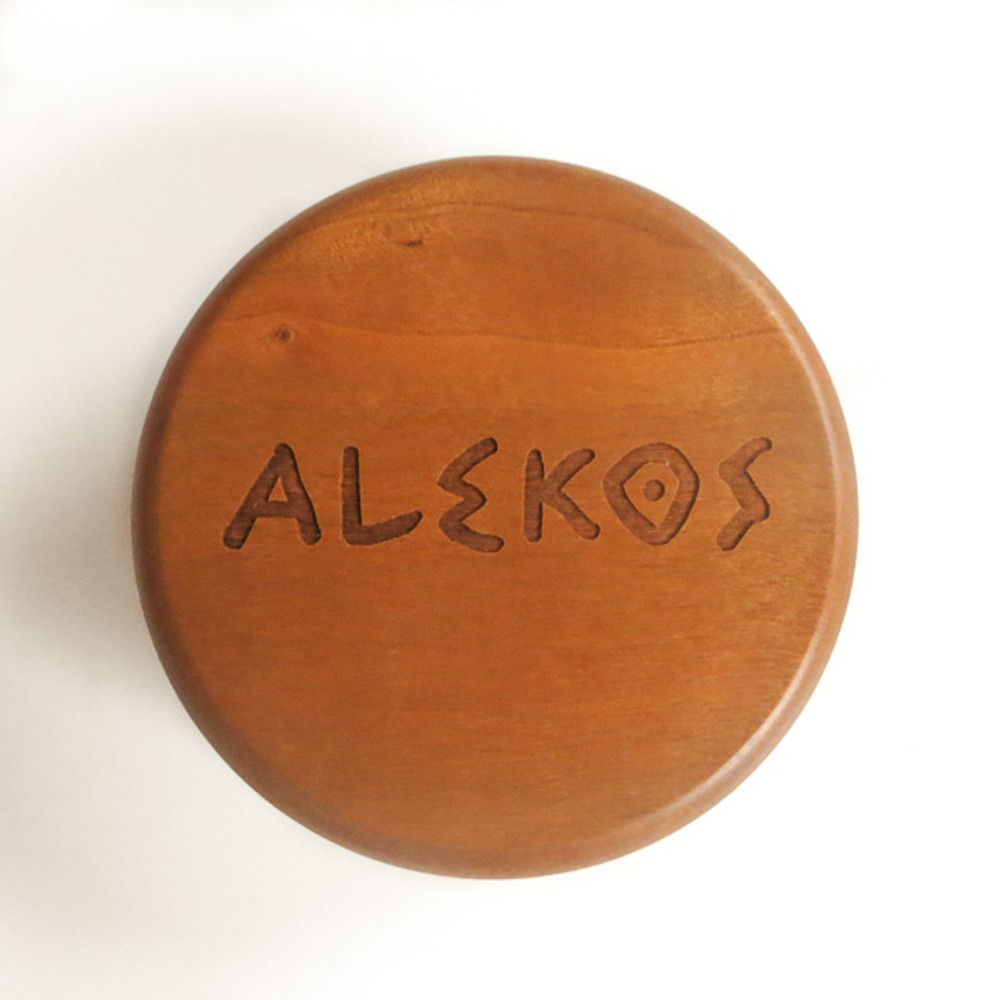Round 2 piece box engraved with greek text and name.
