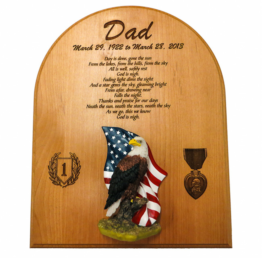 Purple Heart Father Memorial Plaque