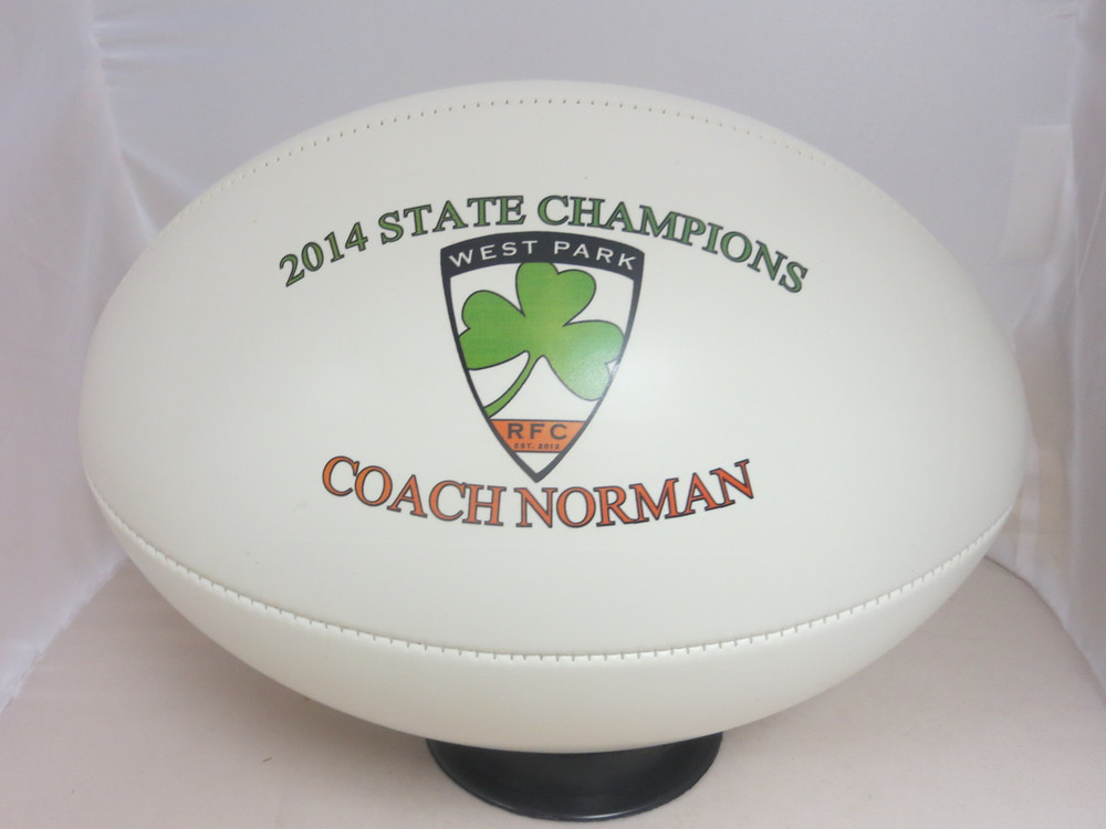 Custom rugby balls make great coach gifts.