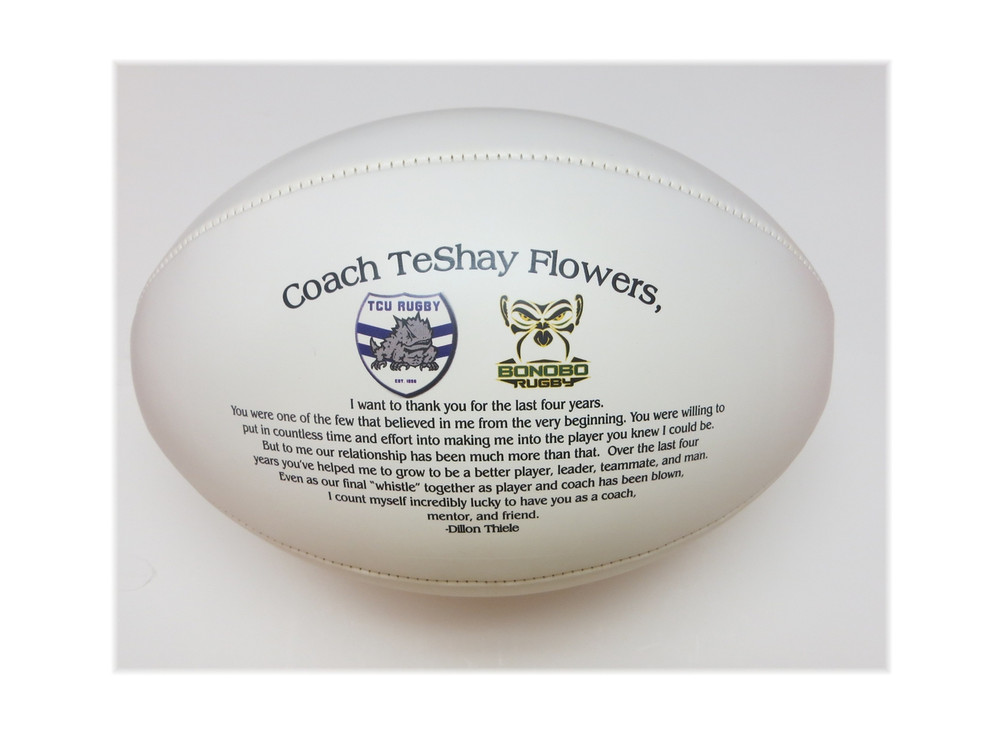 Personalized rugby balls are a great reminder of accomplishments achieved.