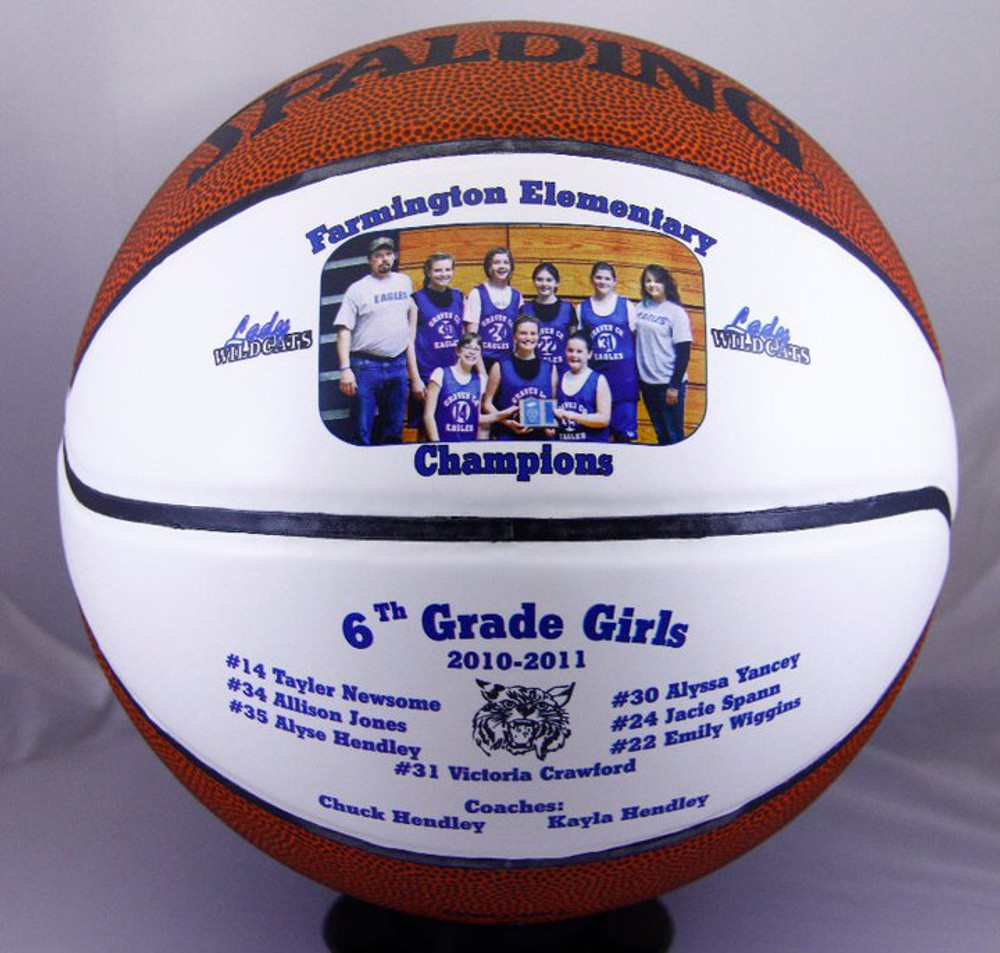 Winning a Basketball Championship should be remembered for years to come. Personalize a Split Panel Basketball with your team photo and logo. Great for team gifts!