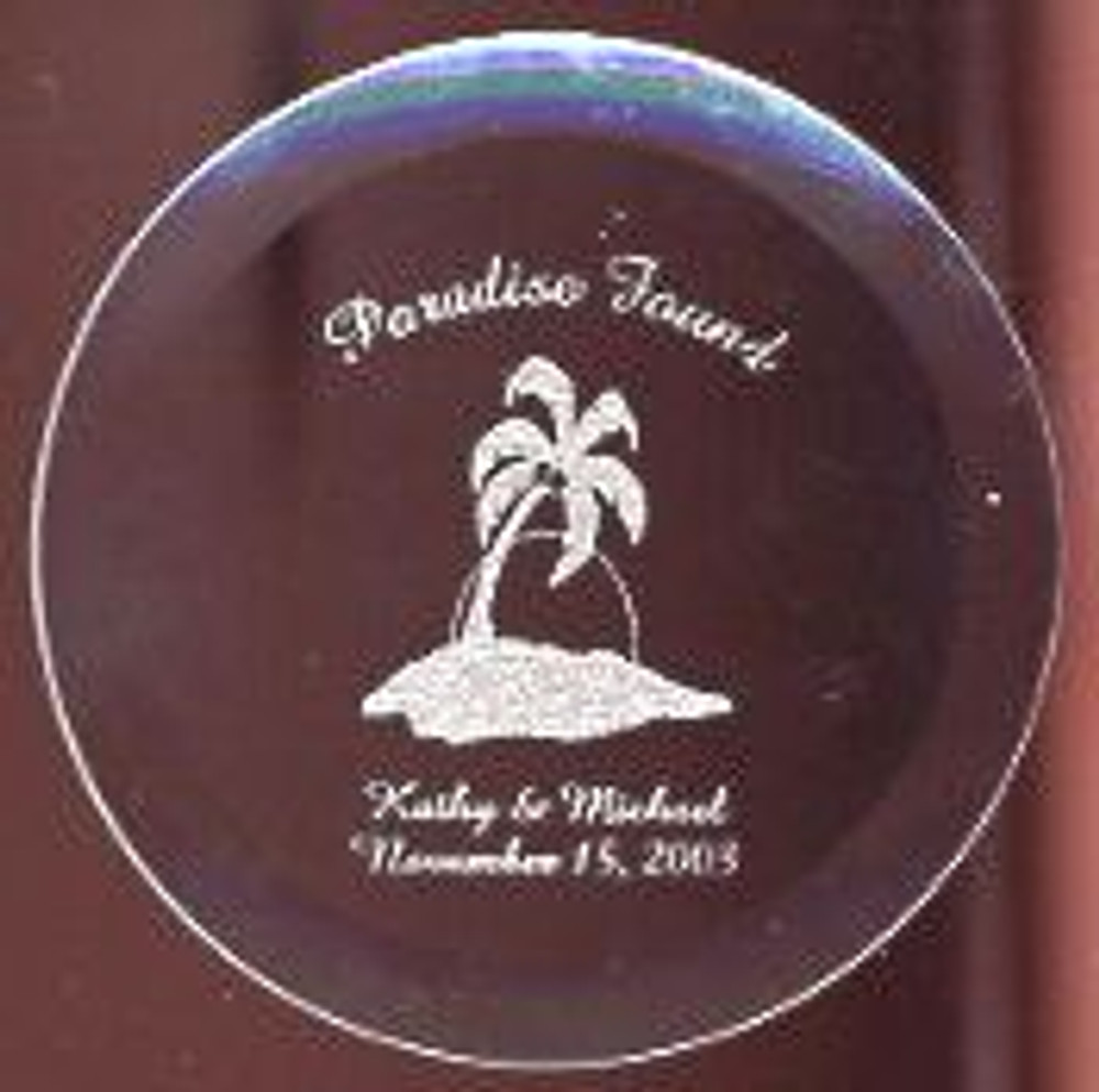 Personalize a Laser Engraved Glass Coaster to protect your furniture. Great way to remember that special vacation. Customizing a Glass Coaster with your name, date and occasion would be a stylish addition to any space. Great gifts for wedding gifts, holidays, recognition and special event.