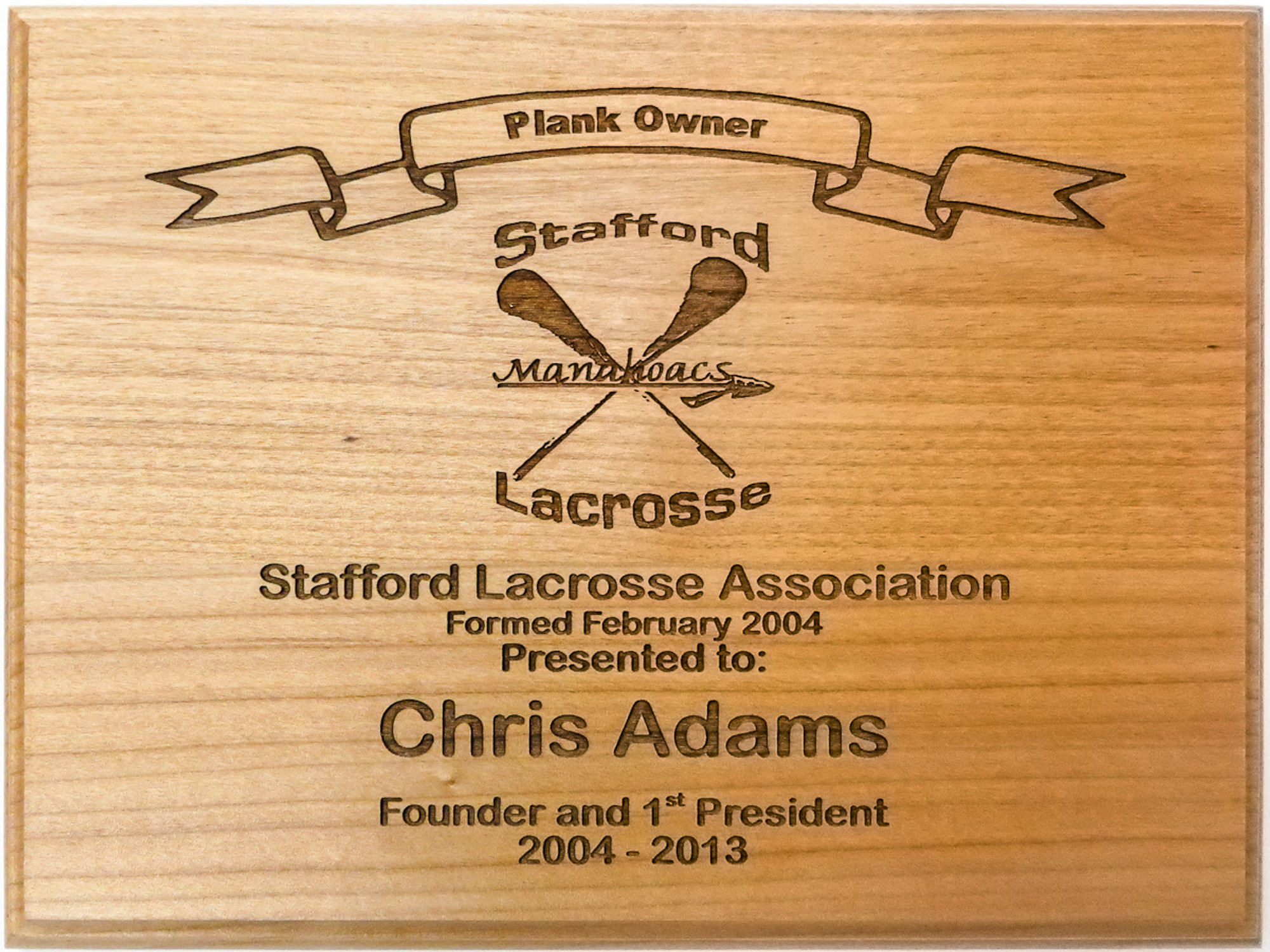 Personalized plank owner plaques custom wood plank owner plaques stafford lacrosse association plank owner plaque formed february 2004 yelopaper Choice Image