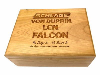 Our Personalized Boxes are crafted in the United States from finely finished cherry wood. This box is designed to hold four sleeves of golf balls, but can be used to hold just about anything. Each box has a hinged top and is felt lined. These Personalized boxes have a rich feel and will make a lasting impression on everyone who sees them. Each personalized box is deeply engraved with your logo or special message and the recipients name can be added. These hardwood golf ball boxes are great for tee prizes, sponsors gifts, weddings, awards or any event.
