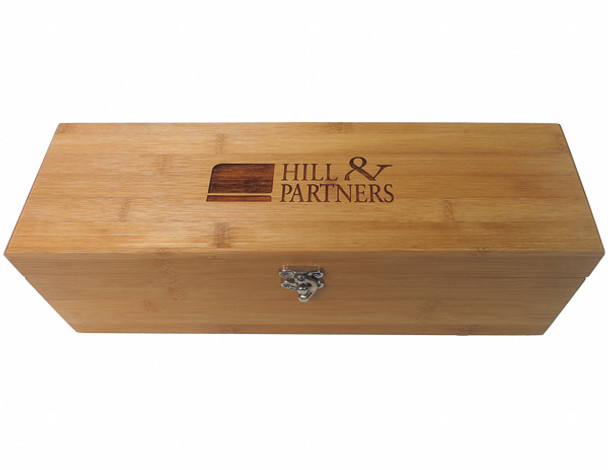 Promotional gift bamboo wine box with corporate logo engraved